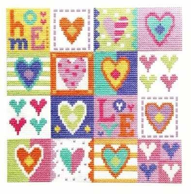 Love Hearts -  Cross Stitch Kit by The Stitching Shed, one square has 'Home' stitched inside.