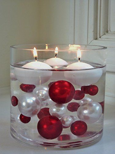 Unique Elegant Vase Fillers - 95 Pieces Pack Jumbo Red Pearls and White Pearls with Sparkling & Red Diamonds and Gems Accents - Wholesale ....The Transparent Water Gels that are floating the Pearl are sold separately...