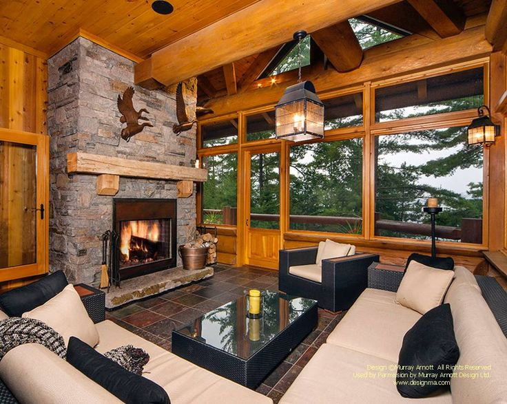 The screened porch of another handcrafted log home i designed recently in canada for more