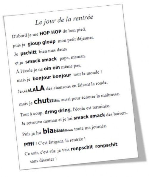 Original à travailler en langage... CP - CE1 : Une poésie pour la rentrée (Rallye liens)