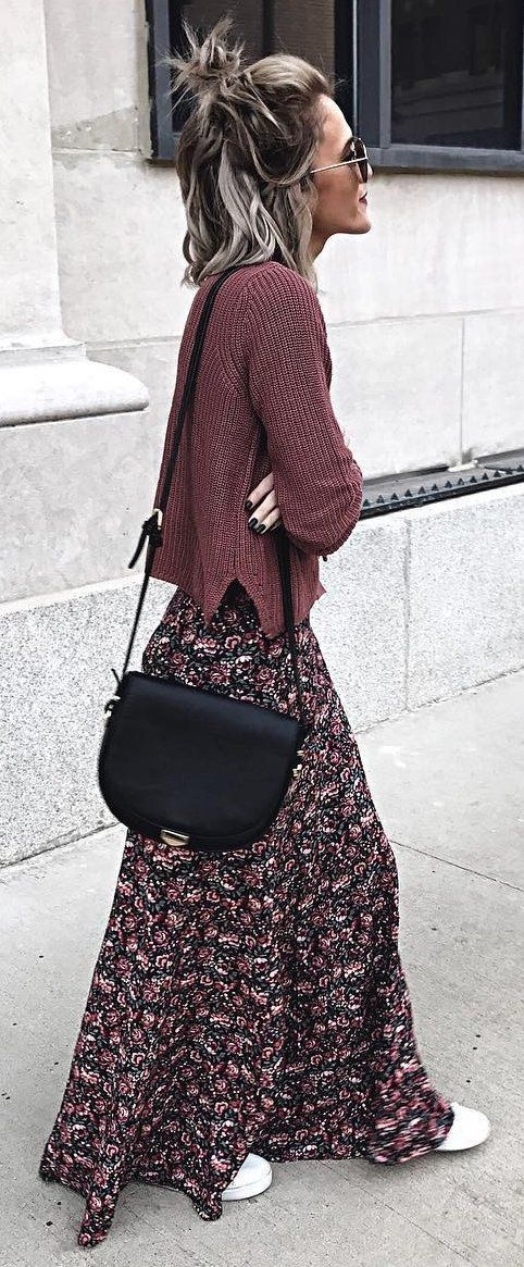 #winter #fashion /  Brown Knit + Printed Maxi Skirt + Black Shoulder Bag