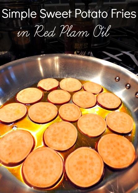 Sweet Potato Fries in Red Palm Oil. Simple superfood cookin' at its best. #sweetpotato