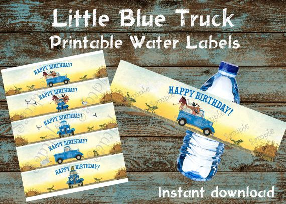 Little Blue Truck Water labels, Little Blue Truck Birthday, Little Blue Truck Party, Little Blue Truck favors, Little Blue truck tags