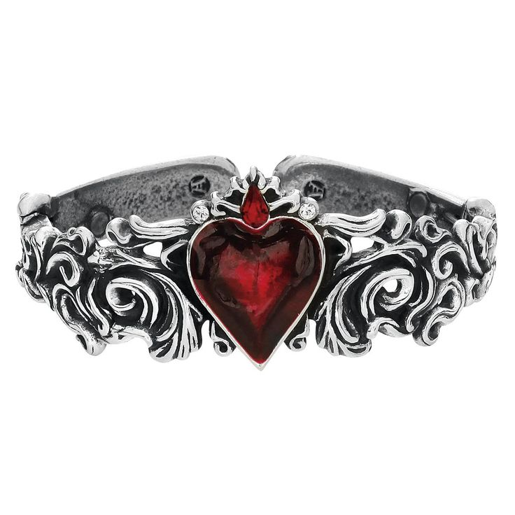 """The bracelet """"Betronthal Bracelet"""" by Alchemy Gothic wears a blood-red heart in the middle. Detailed decoration on the frame of the bracelet. The diameter on the inside is approx. 5.5 cm, the heart..."""