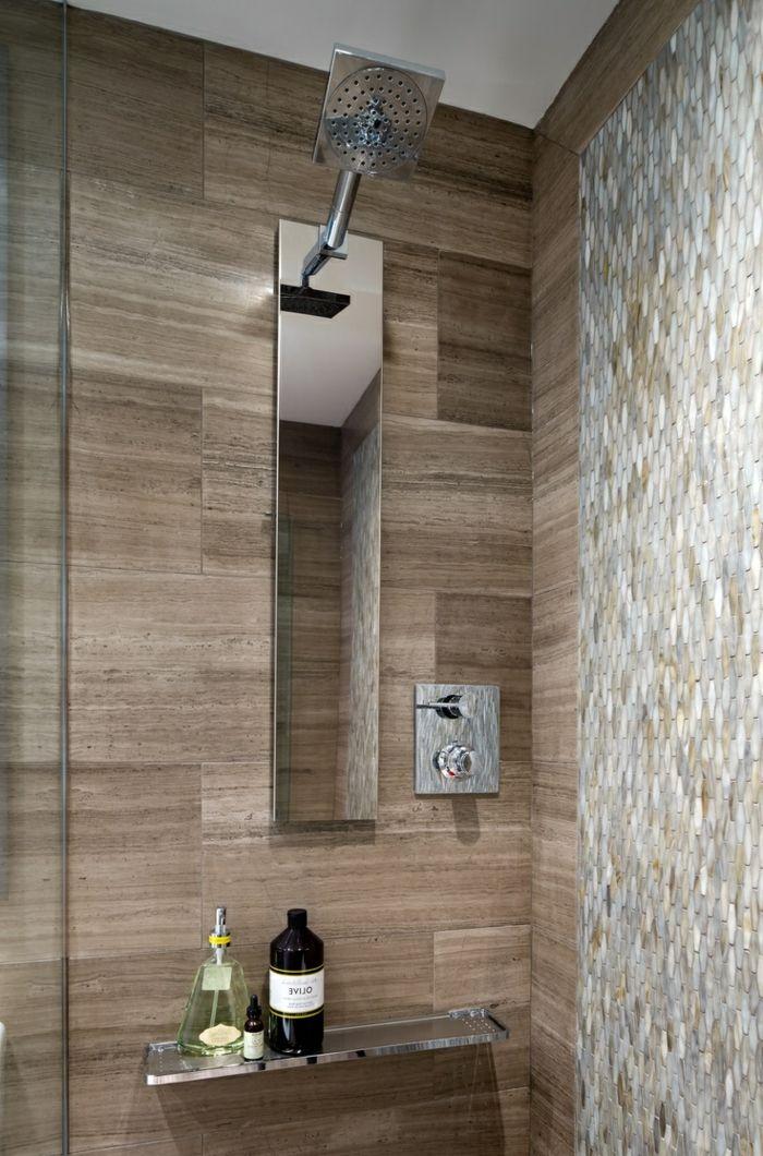 murs en bois clair dans la salle de bain zen avec une colonne de douche castorama - Douche Salle De Bain Castorama