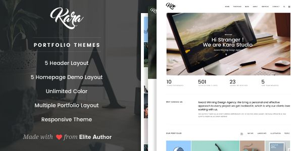 Kara - Simple Portfolio WordPress Theme Kara is a simple portfolio wordpress theme which using ajax transition to change the page. This theme is suitable for you who want to create website for creative agency website, portfolio, and personal websites.