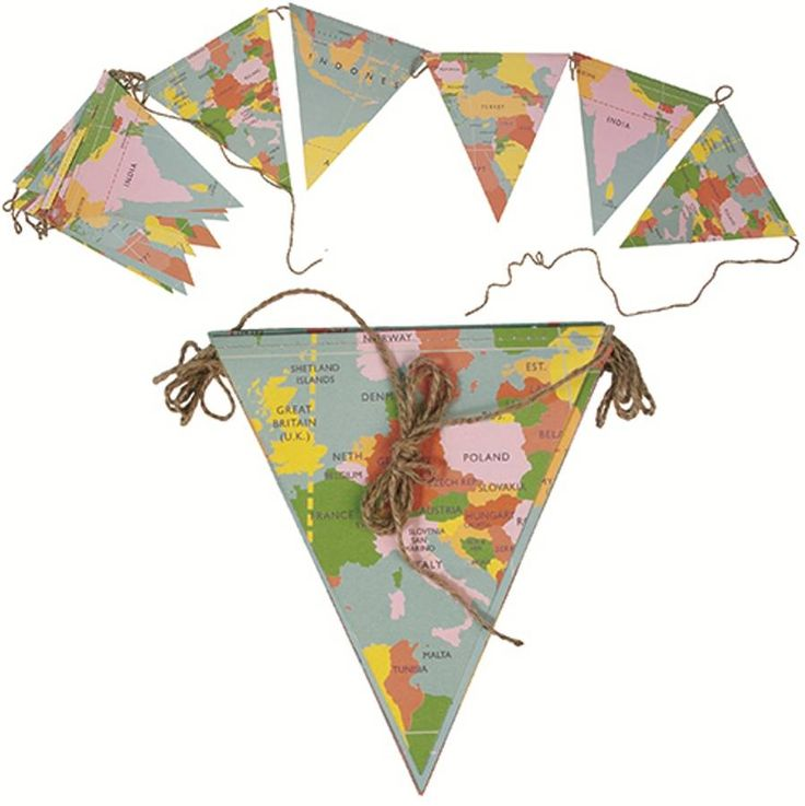 Vintage World Map Paper Bunting