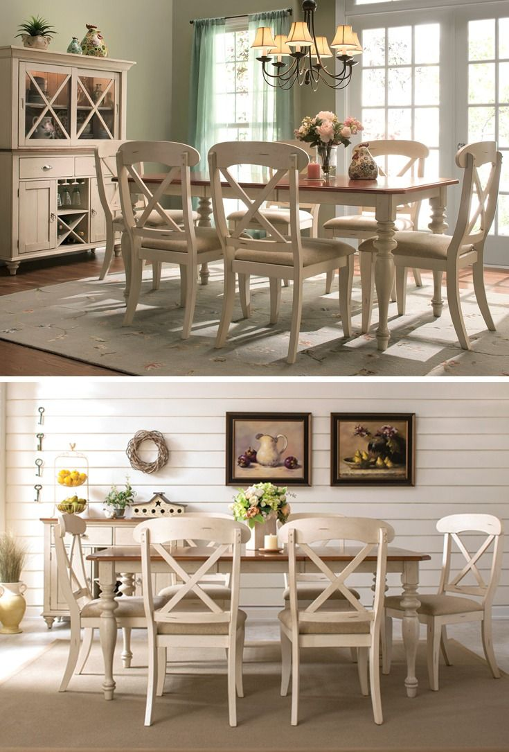 Black distressed dining table and six parlor chairs stamped 1928 - If You Love The Look Of Timeworn Furniture You Re Sure To Appreciate This Sagamore 7 Piece Dining Set Its Distressed Bisque Finish And Distressed Natural