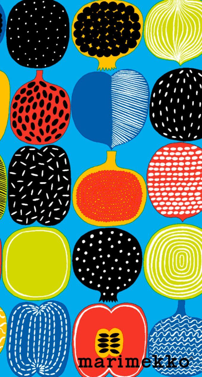 マリメッコ/フルーツ3 iPhone壁紙 Wallpaper Backgrounds iPhone6/6S and Plus Marimekko iPhone Wallpaper