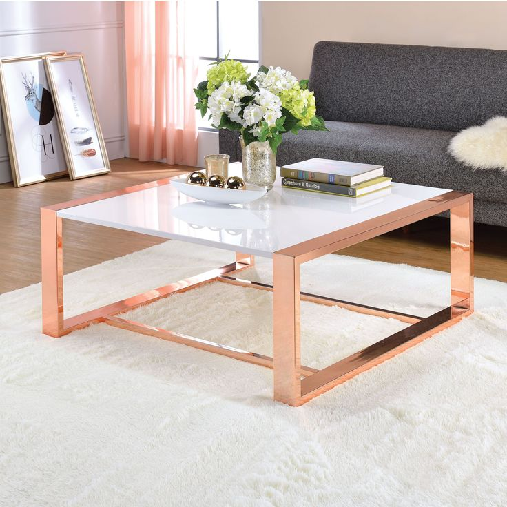 Acme Furniture Porviche White High Gloss and Rose Gold Coffee Table (Coffee Table, White High Gloss & Rose Gold)