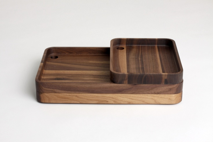 LUGI Tray 01 and 02 made of solid american walnut, design by Matej Chabera