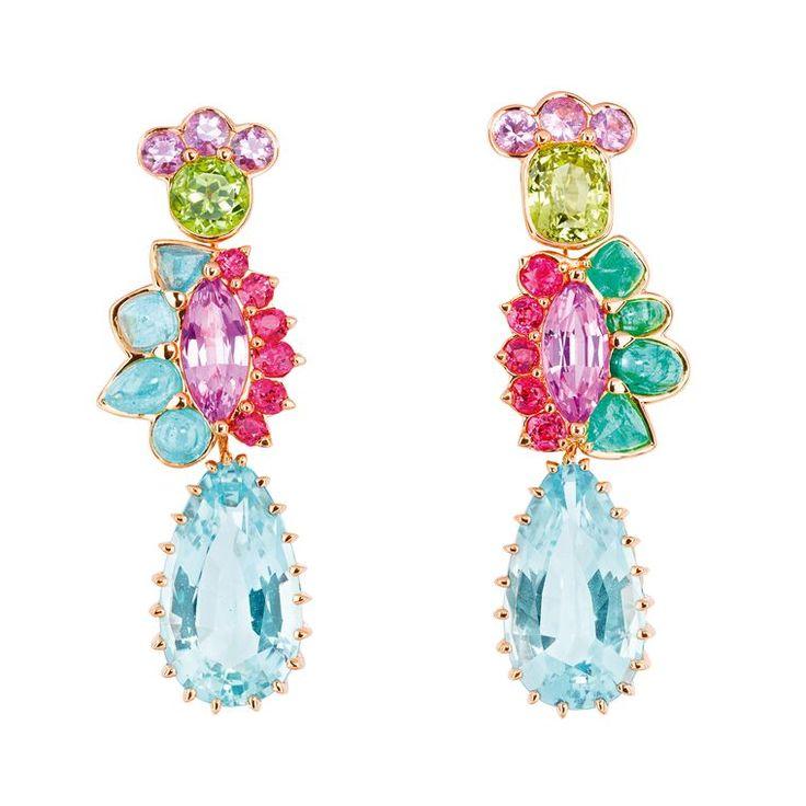Granville aquamarine earrings with multi-coloured gemstones