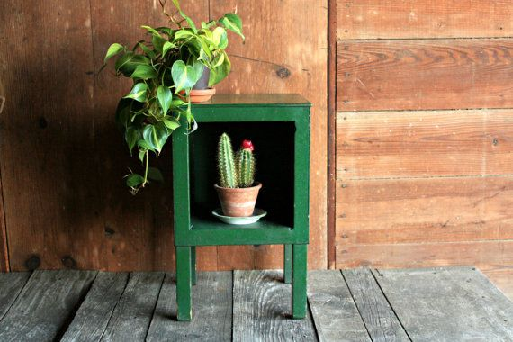 Vintage Wood Cabinet Rustic End Table Rustic by OurVintageBungalow