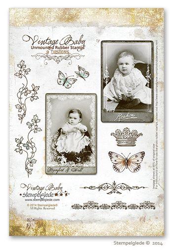© Stempelglede® Vintage Baby. Unmounted Rubber Stamp Sheet.   http://www.stempelglede.com/stemplervintagebaby_en.html