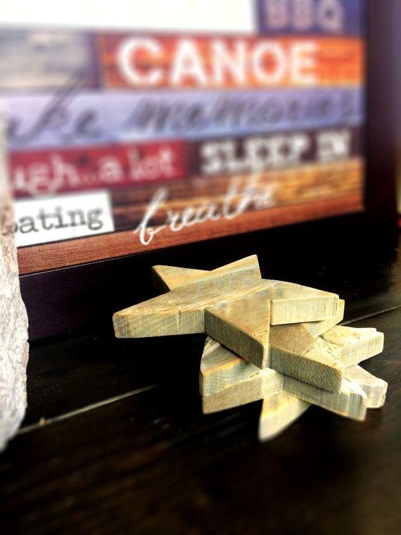 Reclaimed Barnwood Decorative Stars- Set of 4