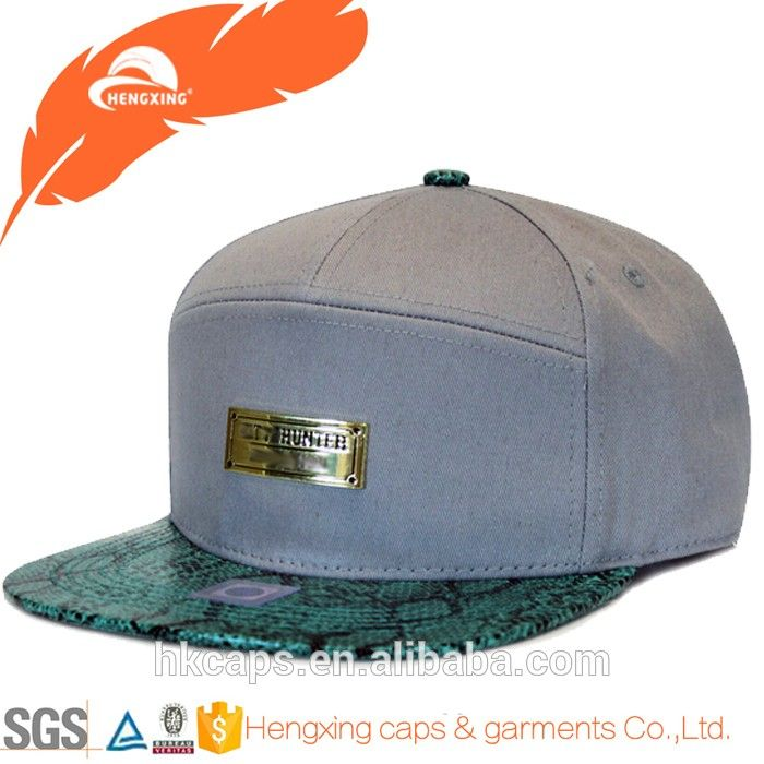 metal plate logo gray snapback hat with leather strap, View metal plate snapback hat, HENGXING Product Details from Hengxing Caps & Garments Co., Ltd. (Great Career) on Alibaba.com