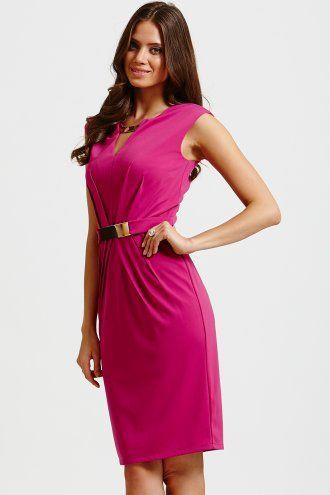 Little Mistress Hot Pink Gold Choker & Gold Belted Bodycon Dress