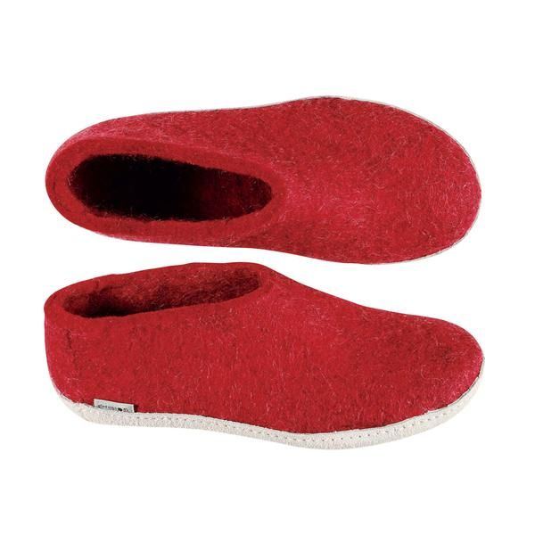 Get more warmth and the comfort of on-the-foot 100% pure wool, with The Shoe from Glerups. The perfect indoors footwear for barefoot comfort around the house or chalet, where cold floors are a fact of life. Details: • 100% pure Natural wool uppers. • Double-layer inner sole.• Vegetable-tanned leather soles.• Made in Romania  Pure Danish Comfort:Glerups are still handcrafted from 100% pure,  natural wool. A unique combination of Gotland  and blended wools is processed naturally and  gently…