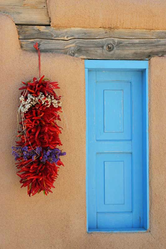 Red peppers were hung outside most doorways.  Sante fe, color, light, art, charming town center, galleries gallor,  great walking town & great food.  Must go again.