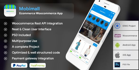 Ecommerce Woocommerce Android + iOS App IONIC 3 - Mobimall