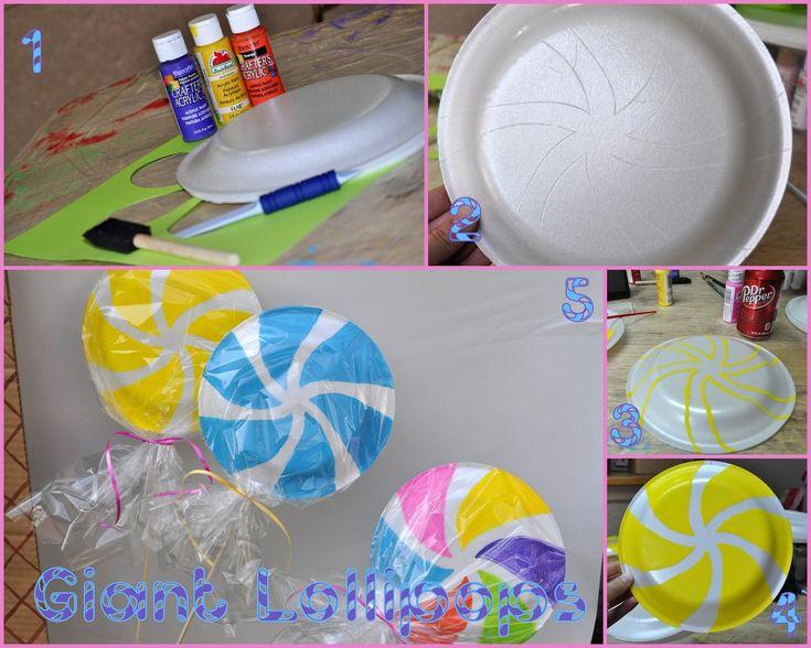 Candyland party - making giant lollipops