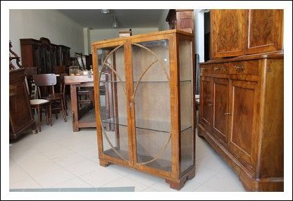 Antica vetrinetta deco in noce 1940 modernariato – Cristalliera