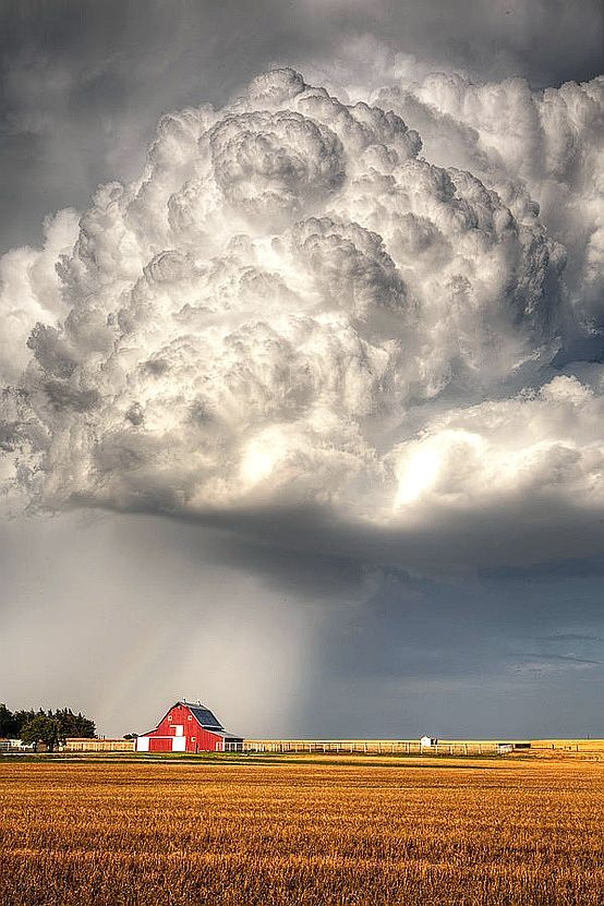 I like this because of the texture of the cloud and the little house is a nice touch.