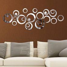Circoli della moda stile specchio smontabile della decalcomania di arte del vinile wall sticker home decor(China (Mainland))