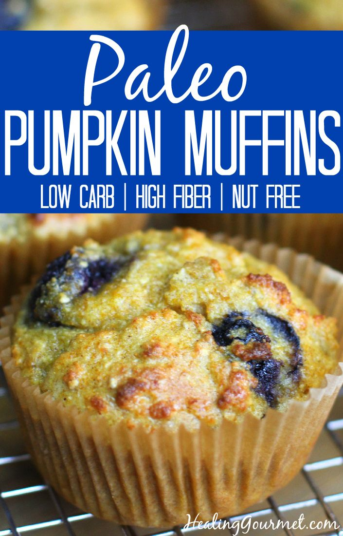 Grain Free, Nut Free, Low Carb, Paleo Pumpkin Muffins with Blueberries
