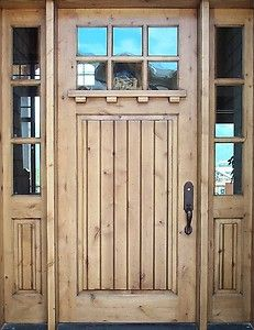 Custom Solid Wood Craftsman Entry Door with Glass Sidelights Custom Front Doors-would like different finish