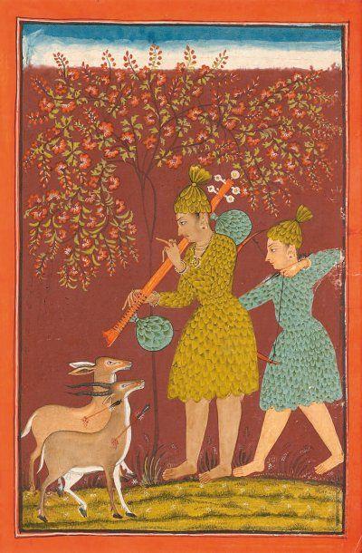 LES BHILS. Illustration d'un Ragamala. Inde, Bilaspur, début du 18e siècle, Deux bhils font face à deux gazelles blessées, l'un bandant son arc, l'autre jouant de la vina sous un arbre en fleur.