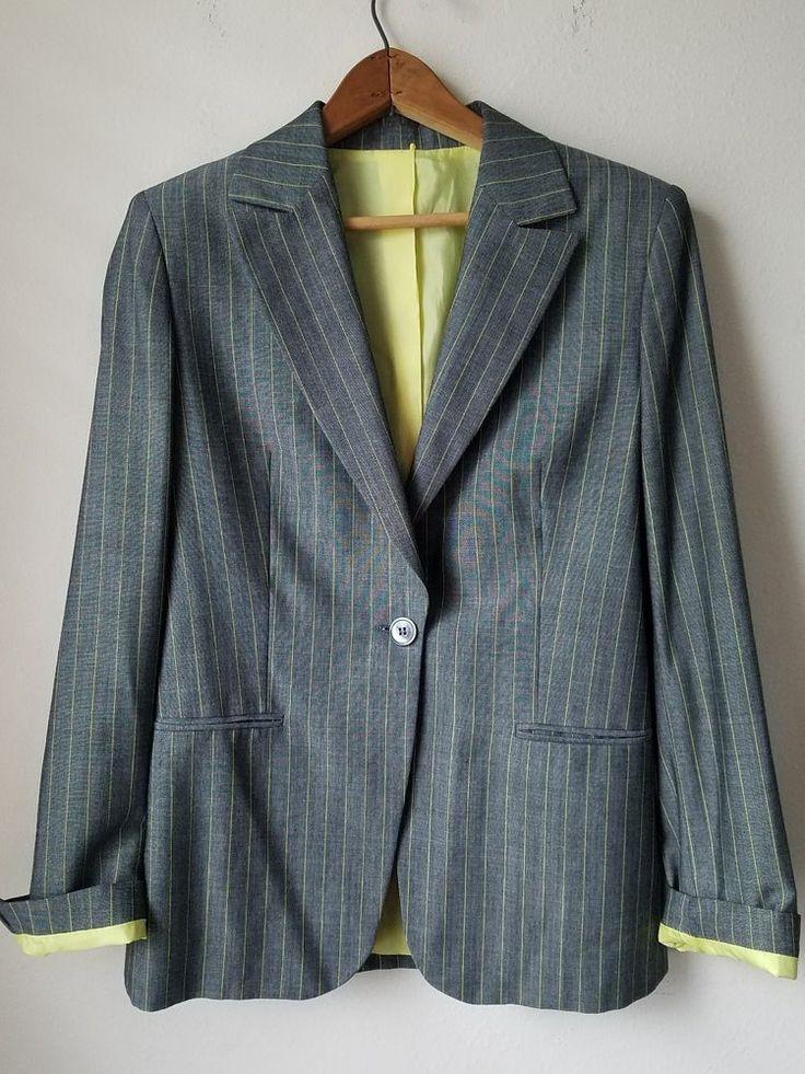 Amitie Womens Mohair Wool Pinstripe Blazer - sz 8 -Black Yellow 40 EUR | Clothing, Shoes & Accessories, Women's Clothing, Suits & Blazers | eBay!