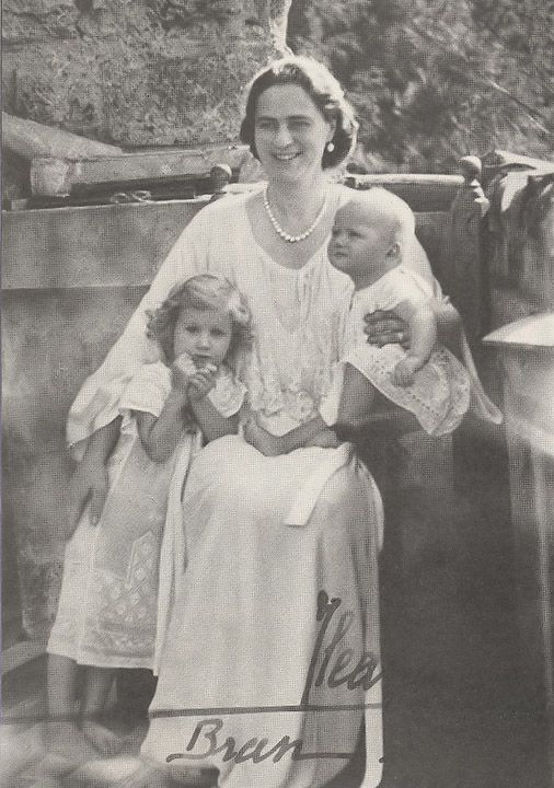 Ileana with her 2 youngest children, daughters Maria Magdalena, left, and Elisabeth.  Summer, 1942.
