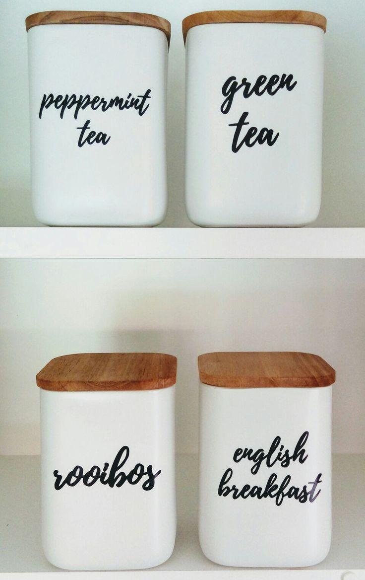 Pantry organisation, tea, coffee, kitchen organisation, kitchen organizing, pantry organizing, kitchen storage, kitchen labels, kitchen cannisters