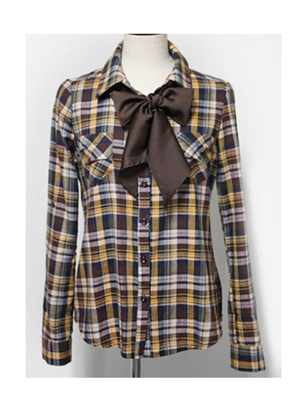 yellow check long sleeve turn-down neck Cotton Blends shirt -