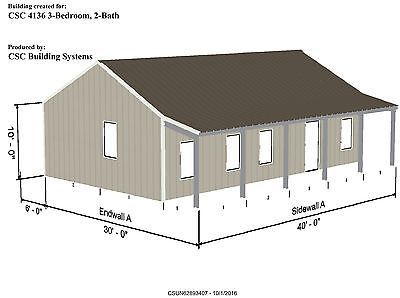 Steel House Kit -CSC 4136- 3 Bedroom - 2 Bath - 2 Porches - 1032 SF Living Area