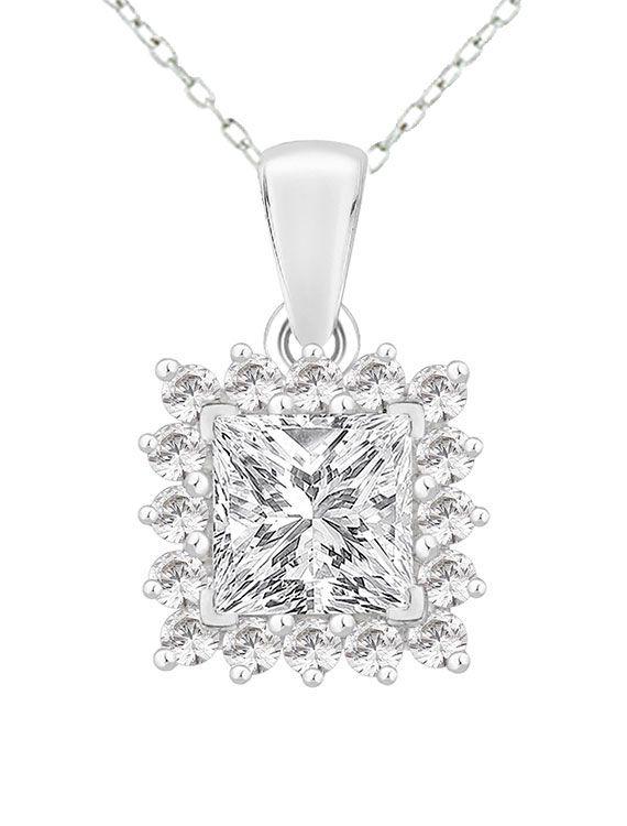 Rhodium Plated Silver & Swarovski Zirconia Necklace