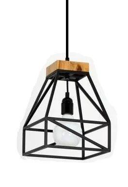 lampara colgante de hierro y madera