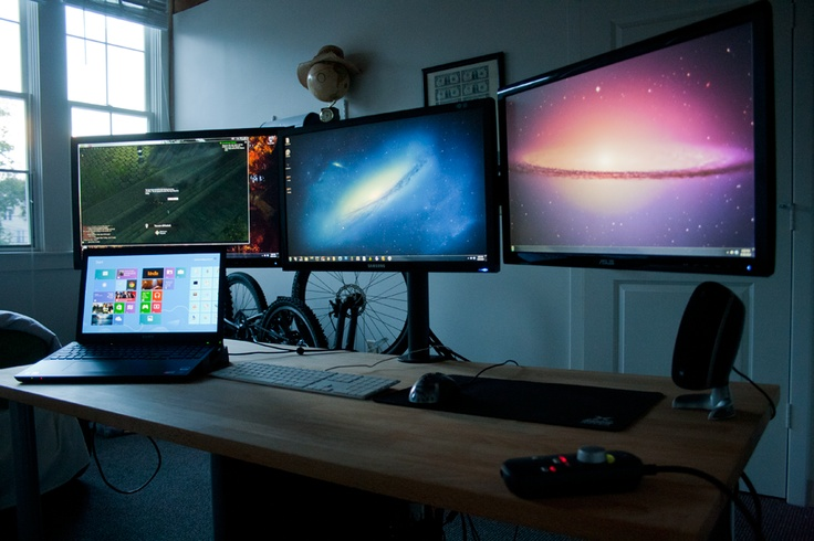 Triple Monitor Stand Mount Office Workspace Ideas