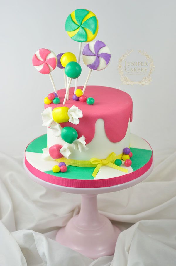 How to make a candy themed cake by Juniper Cakery. Click on link for step-by-step instructions. http://www.craftsy.com/blog/2015/01/how-to-make-a-candy-cake/