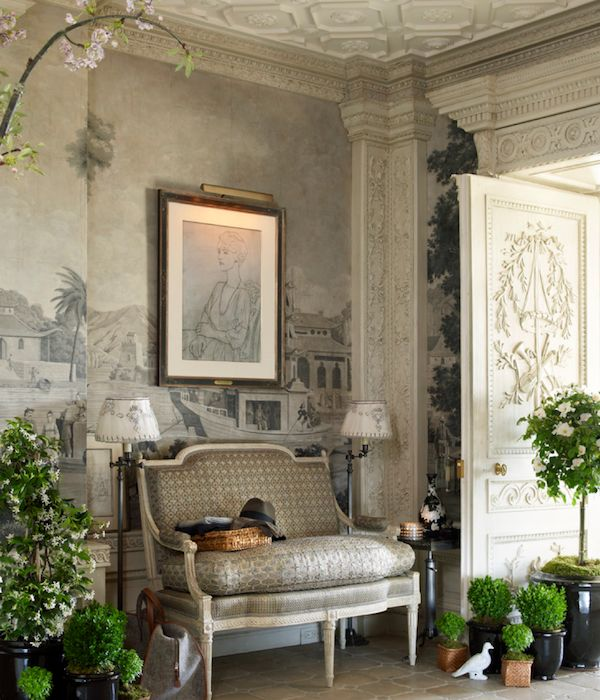 Howard Slatkin's many-layered look. Here's the gallery, with his find in Paris of antique French scenic wallpaper panels now paired with the Stéphane Boudin designed, Maison Jansen executed doors, a gift from the Palm Beach estate of Mrs. Charles Wrightsman.