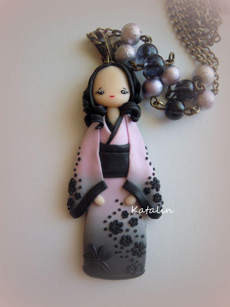 Japanese girl in kimono entirely handmade with polymer clay (FIMO). By Katalin Handmade (2013)