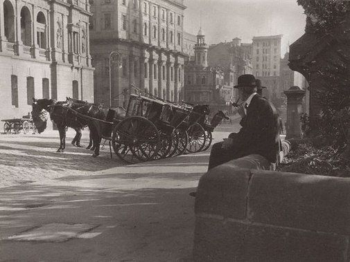 Harold Cazneaux Cabbies, Bridge Street, Sydney 1904