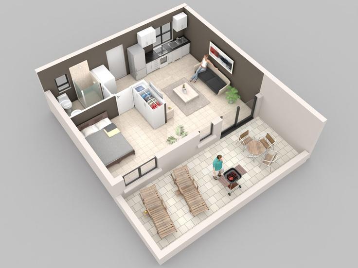 3d model house plans pinterest detached garage for Studio apartment plans 3d
