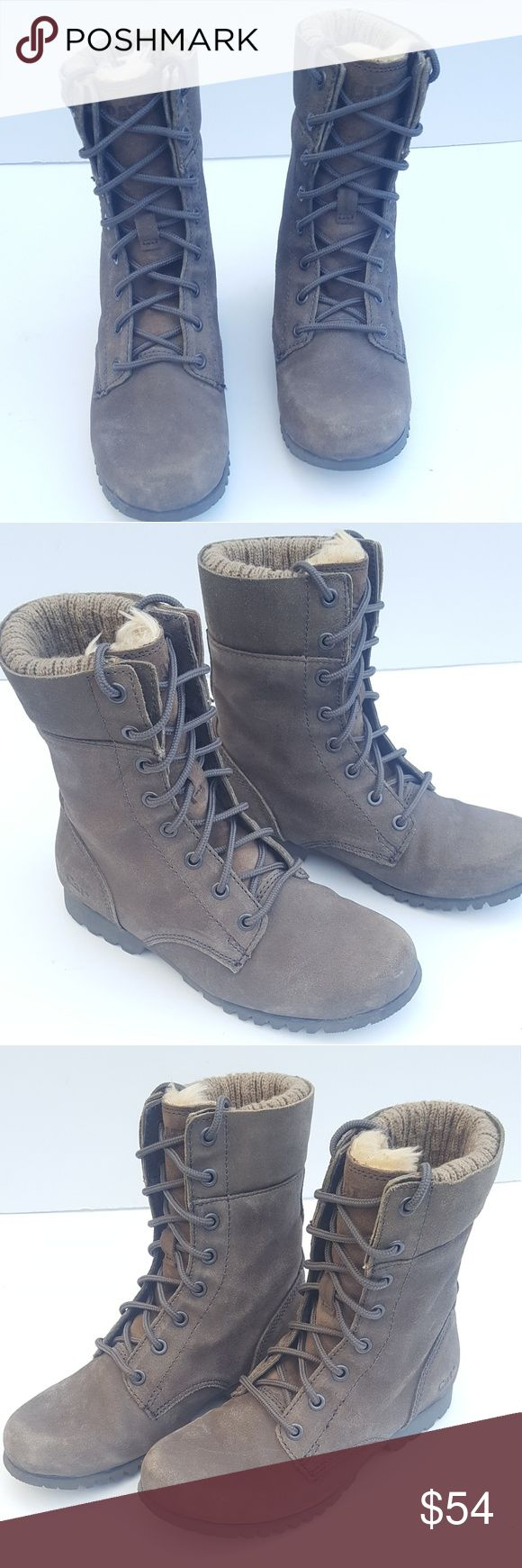 """Womens Leather Boots (7) Cat by Caterpillar NICE! Womens Fur Lined Leather Boots (7) Cat by Caterpillar. Olive Green 1"""" Heel, 7.5"""" up. Hardly Worn, Great Quality, Great Condition, No Issues!  Pet Friendly Pet Free Smoke Free Home! *FAST SHIPPING * Caterpillar Shoes Winter & Rain Boots"""