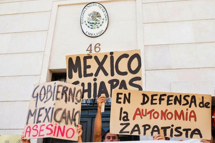 Estado Español: Protesta en la Embajada de México por agresiones a zapatistas en La Realidad