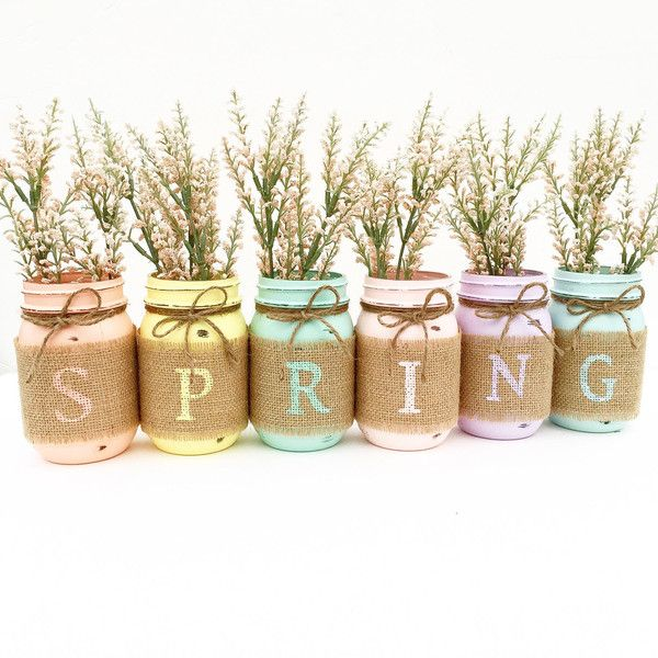 Spring Mason Jar Set Spring Mason Jars Easter Decor Pastel Decor... (£28) ❤ liked on Polyvore featuring home, home decor, filler, backgrounds, home & living, home décor, silver, country style home decor, colored jars and country themed home decor