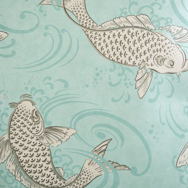 Osborne & Little Album 6 Collection - Derwent Wallpaper - W579606 ($85) ❤ liked on Polyvore featuring home, home decor, wallpaper, pattern wallpaper, osborne little wallpaper, koi wallpaper, blue green wallpaper and aqua wallpaper