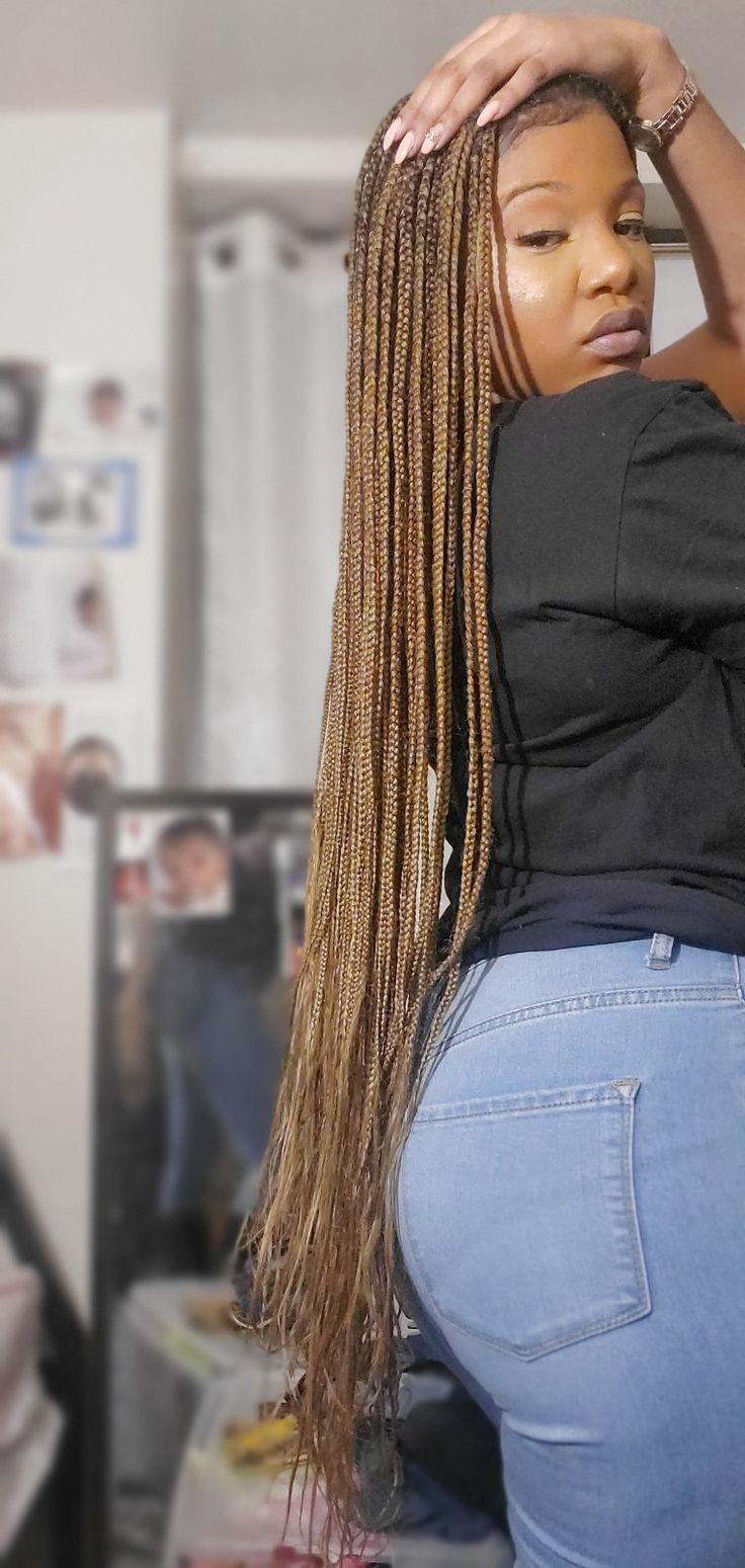 Long Knotless Box Braids Blonde Light Brown In 2020