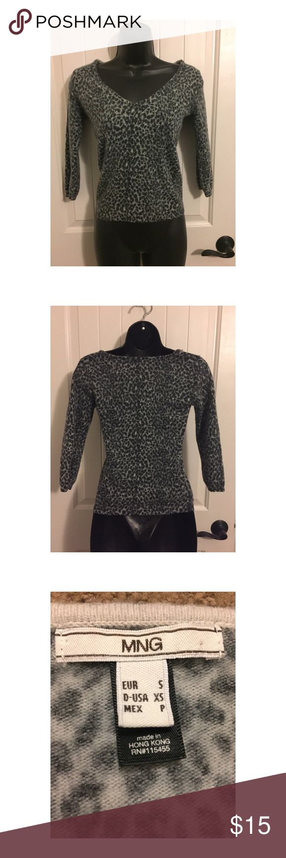 Back and grey cheetah print v neck shirt XS MNG. XS, Black and grey half sleeve v neck, the brand is MNG. Super soft fabric cheetah print. MNG Tops Tees - Long Sleeve